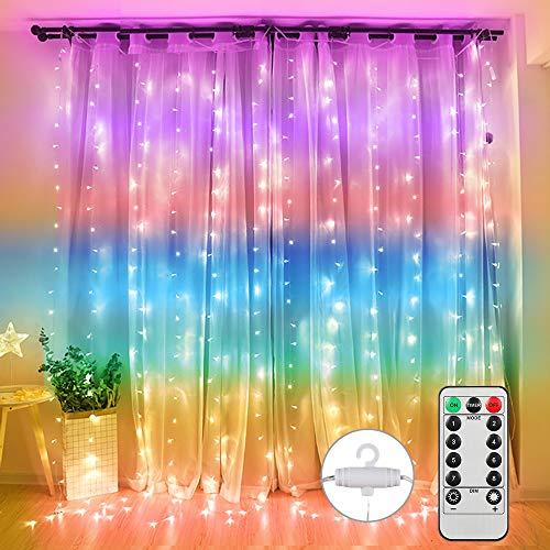 Vegena LED USB Lichtervorhang 3m x 3m, 300 LEDs Lichterkettenvorhang mit 8 Modi Lichterkette Gardine für Partydekoration Schlafzimmer Innenbeleuchtung Weihnachten Deko Bunt [Energieklasse A+++]