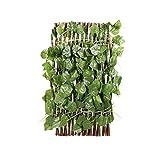EXCEART - Foglia artificiale in vinile verde per recinzione, protezione privacy, siepi, griglia decorativa da giardino, balcone, foglie, recinzione, 60 x 39 x 1 cm