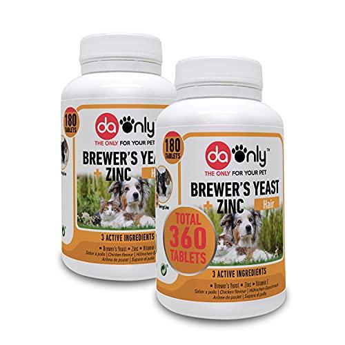 DAONLY Levadura de Cerveza para Perros y Gatos en Comprimidos (Pack de 2). Suplemento Nutricional con vitaminas B para el Pelo, la Piel y Las Uñas de tu Mascota.