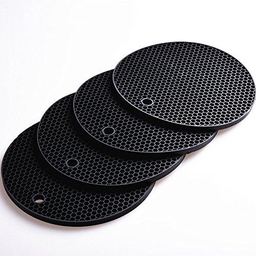 17,8 x 17,8 cm rond en silicone premium Dessous de Plat pour tapis de cuisine et repas chauds (lot de 4) antidérapant, passe au lave-vaisselle, résistant à la chaleur Hot Pot support