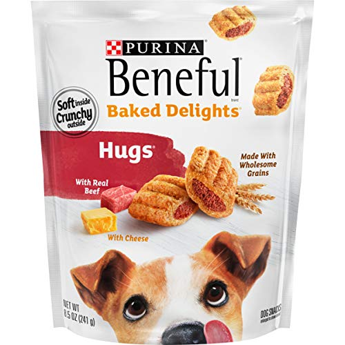 Purina Beneful Made in USA Facilities Dog Treats, Baked Delights Hugs With Real Beef & Cheese - (4) 8.5 oz. Pouches