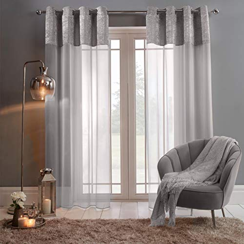 Sienna Pair of Crushed Window Treatment Panel Lace Voile Net Curtain Textured Eyelet Ring Top, Silver Grey Panels-55, Velvet, 55' wide x 87' drop