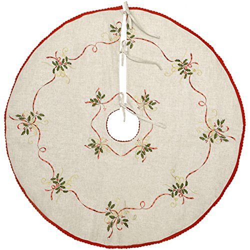 Grelucgo 21 Inches Christmas Holiday Small Tree Skirt for Mini Tabletop or Pencil Tree 2 to 3 Feet, Double Thickness, Embroidered