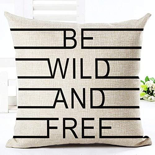JONJUMP Funda de almohada de estilo blanco y negro con diseño de palabra simple impresa, para decoración del hogar