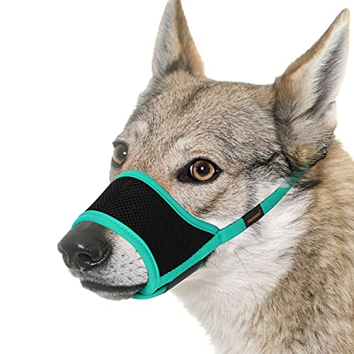 FAYOGOO Dog Muzzle, Soft Nylon Muzzle for Large Dog, Air Mesh Breathable Drinkable and Adjustable Loop, Puppy Muzzles to Prevent Biting Barking Chewing Best for Aggressive Dogs