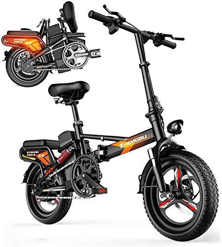 Bicicleta Eléctrica Bicicleta plegable eléctrica Neumático de grasa 14 ', Bicicleta de montaña de la ciudad, bicicleta, 55-110km, con motor silencioso de 48V 400W, portátil, fácil de almacenar en la c