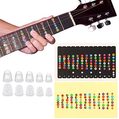 [2 piezas] pegatinas de diapasón de guitarra, pegatinas de guitarra de diapasón para que los principiantes aprendan pegatinas de etiquetas de escala EADGBE, muy adecuadas para guitarras de 6 cuerdas