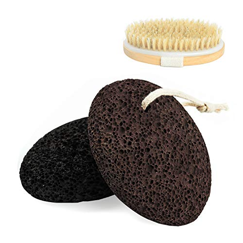 Canvalite - Piedra pómez para pies, 2 piezas de lima natural de piedra pómez de lava con cepillo de baño seco para manos / cuerpo / exfoliante de pies para piel dura removedor de callos
