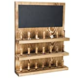 MyGift 3-Tier Wall-Mounted Wood Jewelry Accessories Organizer with Chalkboard, 21-Peg Ring Holder Storage Rack