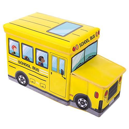Bieco 04000506 - Caja para juguetes con asiento (aprox. 55 x 26,5 x 31,5 cm), diseño de autobús escolar