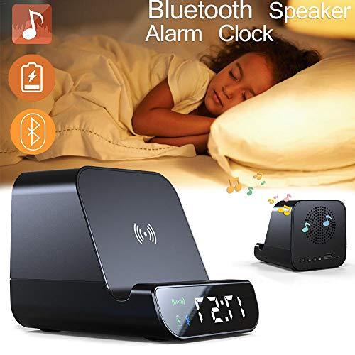 Haodene Altavoz Bluetooth de Escritorio - 4 in 1 Multifuncional Altavoz Bluetooth + Despertador + Batería Externa 4000 mAh Cargador Inalámbrico Rápido para Teléfonos y tabletas habilitados para Qi