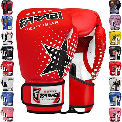 Farabi Boxhandschuhe für Kinder, Muay Thai, Kickboxen, Training, MMA (roter Stern, 170 g)
