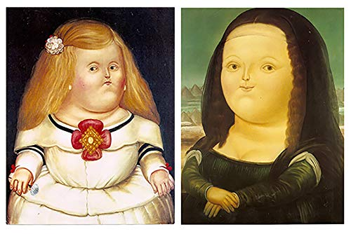 Dcine Cuadros Artista Botero: la Menina, la Mona Lisa sobre Madera. Set de 2 Unidades de 19 cm x 25 cm x 4 mm unid. Adhesivo FÁCIL COLGADO. Adorno Decorativo