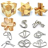 Qiandier Bamboo 3D Puzzle Metal Brain Teasers Puzzles Mind Game Toys Set for Teens and Adults Pack of 12pcs