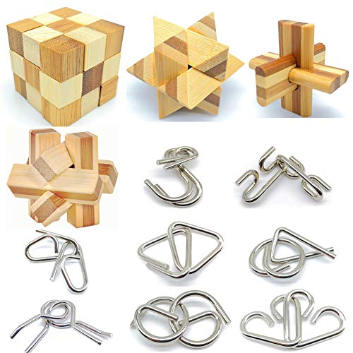 brain teaser games for adults Qiandier Bamboo 3D Puzzle Metal Brain Teasers Puzzles Mind Game Toys Set for Teens and Adults Pack of 12pcs