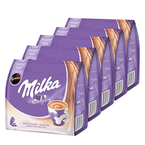 Senseo Milka Choco Pads 5er Set, Schokoladengetränk, Kakaogetränk, Kaffeepads, 5 x 8 Pads / Portionen
