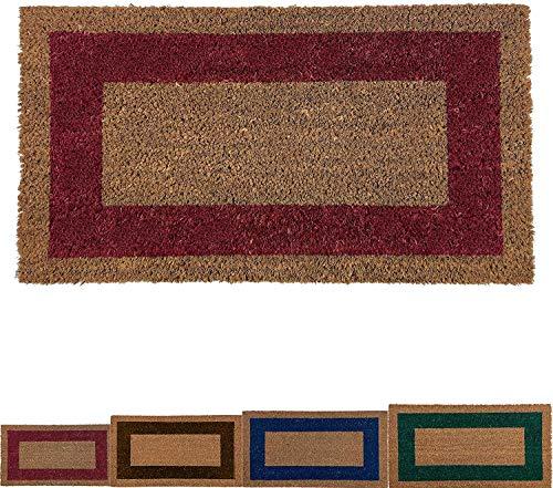 LucaHome - Felpudo de Coco Natural Cenefa de Colores con Base Antideslizante, Felpudo de Coco Liso Ideal para Interior y Exterior (Rojo, 60 x 100 cm)