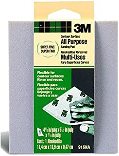 3M Contour Surface Sanding Sponge, Super Fine, 4.5-Inch by 5.5-Inch by 0.2-Inch