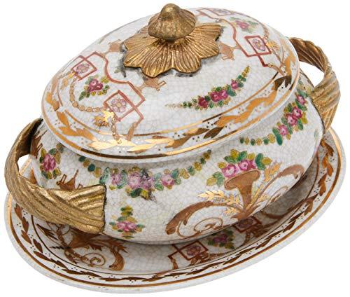 Better & Best Soperita P Forero Oro Sopera de cerámica, redonda, con asas de bronce, con tapa y plato, decorada con motivos florales, medidas 16x12x12 cm