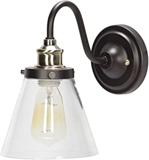 Globe Electric 64932 Jackson 1-Light Wall Sconce, Oil Rubbed Bronze, Antique Brass Accent, Clear Glass Shade