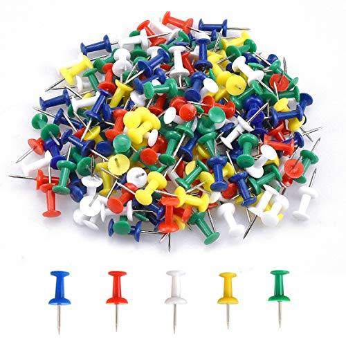 200 Pièces Multicolores Décoratives Punaises, Punaises à tête en Plastique, Épingles Murales, Punaises Aiguille pour Carte et Tableau d'affichage en Liège (5 Couleurs)