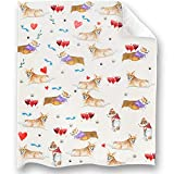 Loong Design Corgi Throw Blanket Soft Fluffy Premium Sherpa Fleece Blanket 50'' x 60'' Fit for Sofa Chair Bed Office Travelling Camping Gift