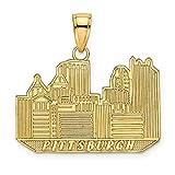 14K Yellow Gold Pittsburg Skyline Charm Pendant