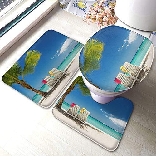 3pcs Tappetino Antiscivolo per Doccia Spiaggia Palm Tree sedie Barche Pad Antivegetativa e Anti-Muffa W40 x L60cm