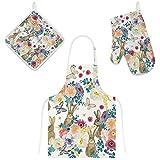 Orediy - Set di 3 grembiuli da cucina con tasche, resistenti al calore, guanti da forno con presine, fiori di coniglio acquerello, grembiule da cucina per cucinare