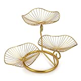 OwnMy 3-Tier Fruit Basket Stand Decorative Iron Fruit Bowl, Metal Wire Fruit Holder Storage Trays Table Countertop Holder for Vegetables Bread Snack, Modern Fruit Bowls for Kitchen Home Use (Gold)
