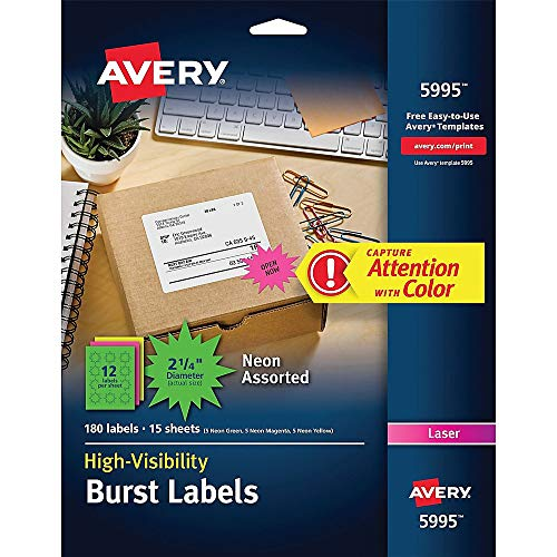 AVERY 5994 High-Visibility Permanent ID Label Bursts, Laser, 1 1/2 dia, Asst. Neon, Pack of 360, Neon Green;neon Magenta;neon Yellow