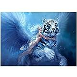 HYLLVC 1000 Piezas de Rompecabezas para Adultos Fairy and Silver Tiger Puzzle de 1000 Piezas para Adultos y niños Cartoons Juego Familiar cooperativo desafiante y Divertido (52x38cm)