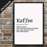 Definition: Kaffee   DIN A3   Premium Spruch-Poster für