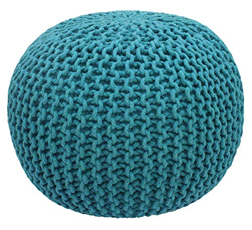 COTTON CRAFT - Hand Knitted Cable Style Dori Pouf - Teal - Floor Ottoman - Cotton Braid Cord - Handmade & Hand Stitched - Truly one of a Kind Seating - 20 Dia x 14 High
