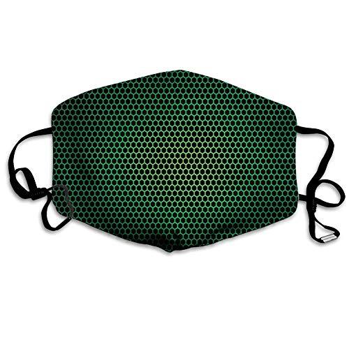 Waldgrün, geometrisches Wabenmuster mit Polygon-Technologie-themenorientierter Gitter-Netzfliese, grünes Schwarz, gedruckte Gesichtsdekorationen