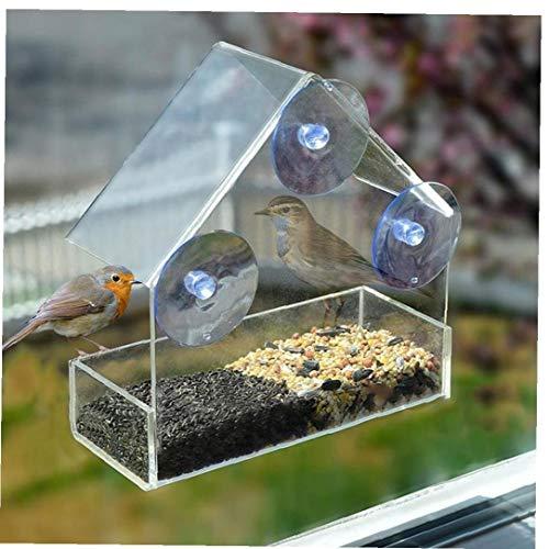 Klarglas-Sichtfenster Bird Feeder Hotel Table Seed Peanut Hängen Saug Alimentador Adsorption Haus Typ Bird Feeder