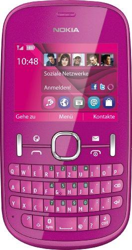 Nokia Asha 201 Handy (6,1 cm (2,4 Zoll) Bildschirm, 2 Megapixel Kamera, QWERTZ-Tastatur) pink