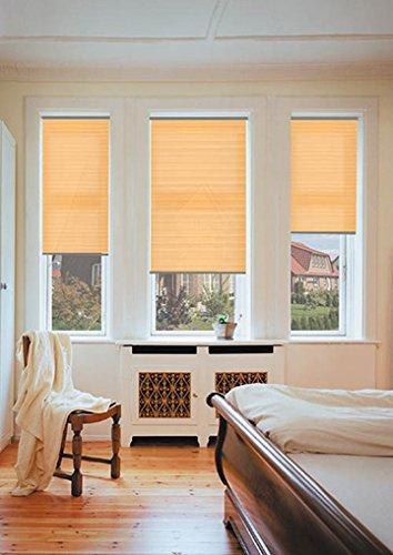 sundiscount Plissee nach Maß | Stoffkollektion Kepp | P1415 | Glasleistenmontage (Orange, 70 x 80 cm)