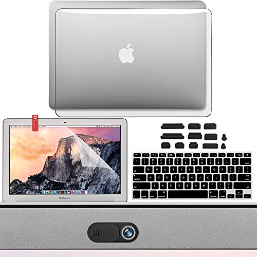 GMYLE MacBook Air 13 Inch Case Kit A1466 A1369 2010 2017, Privacy Webcam Cover, Anti Dust Plugs, Keyboard Cover and Screen Protector 5 in 1 (Clear)