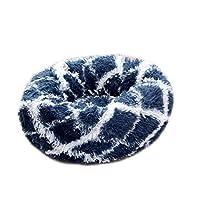 ペットベッド 犬用ベッド 猫用ベッド クッション 丸型 毛足の長いシャギー ふわふわ 可愛い 小型犬用 キャット用 休憩所防寒かわいい対策 洗える (直径60cm, ダークブルー)