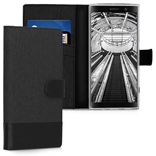 kwmobile Sony Xperia XA2 Plus Hülle - Kunstleder Wallet Case für Sony Xperia XA2 Plus mit Kartenfächern & Stand - Anthrazit Schwarz