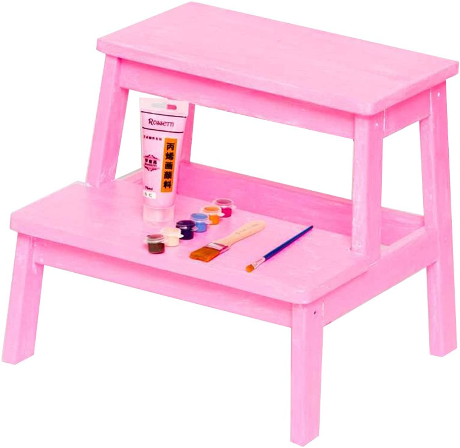 PENGFEI Solid Wood Ladder Stool Multifunction colors DIY Ascend Footstool Change shoes 2 Steps, 5 colors Furniture (color   Pink)