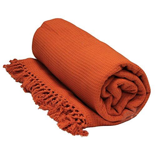 Just Contempo Gooi / Sprei, 100% katoen, met honingraatstructuur, extra groot, 100% katoen, Terracotta (oranje), King Size 102
