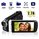 Video Camera Camcorder, CamKing 2.7K 18X HD Ultra-Thin Digital Video Camera with 3.0 Inch HD Touch Screen Digital Zoom Camera Recorder
