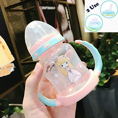 Botellas para Beber de 250 ml para bebés Lata giratoria de 360 Grados para bebés Tazas para Aprender a Beber Tazas de Agua Regalo para niños Vasos para niños pequeños - Rosa