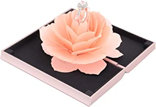Aimeio Creative 3D Pop Up Red Rose Ring Holder Engagement Small Ring Box Jewelry Gift Case for Wedding Ceremony Anniversary Mother's Day