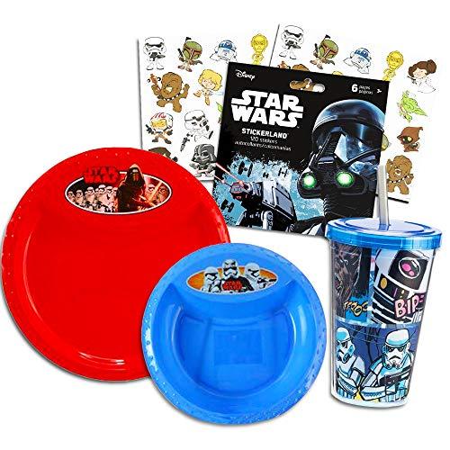 Star Wars Toddler Dinnerware Set - Plate, Bowl, Tumbler, Stickers (Star Wars Dining Set)