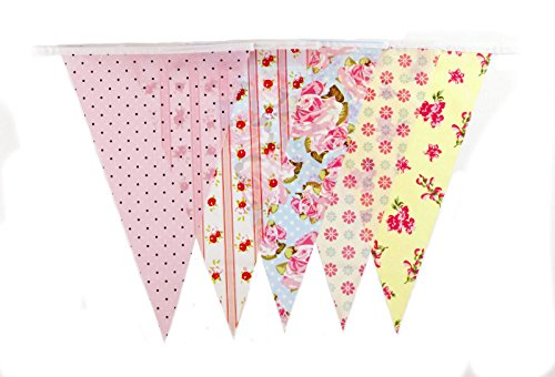 10M Garden Party BUNTING 20 flags 30 feet length Vintage Floral Dots Check Flags [C1006]