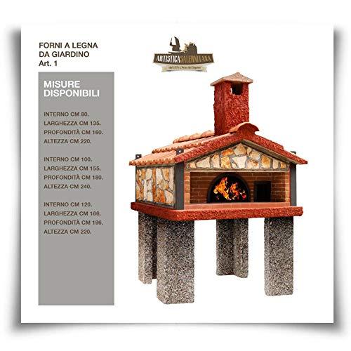 Forno a Legna Napoletano Pizza da Giardino per Esterno coibendato Professionale (Diametro Interno 100 cm, Articolo 1)