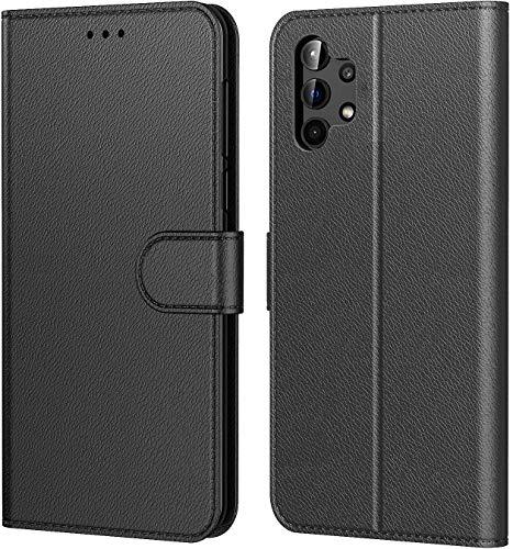 AURSTORE Funda para teléfono móvil compatible con Samsung Galaxy A32 5G, piel sintética de alta calidad, cierre magnético, funda de piel con tapa y tarjetero para Samsung A32 5G, color negro